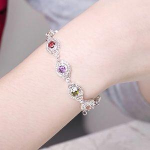 Sterling silver bracelet w/colored Cubic Zirconia